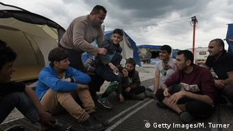 Migrants at the Jungle camp in Calais, France
