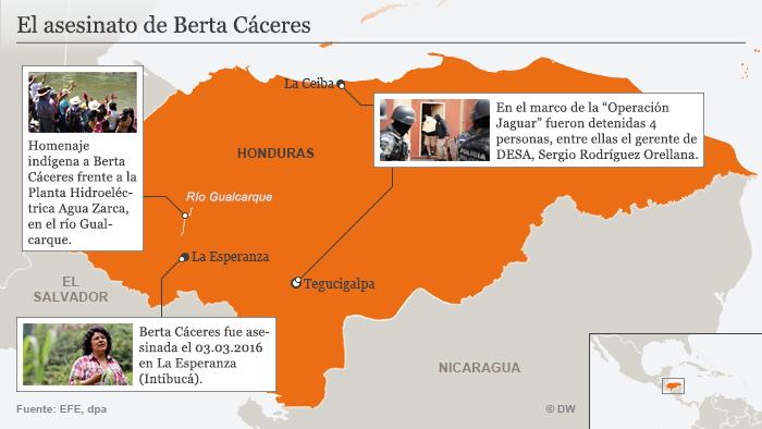 Infografik Karte Die Ermordung von Berta Cáceres