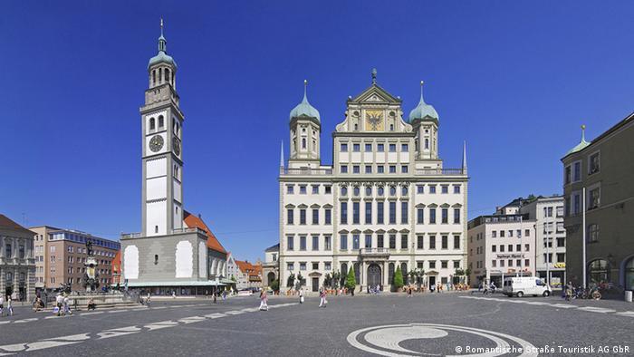 Deutschland Romantische Straße Augsburg Marktplatz