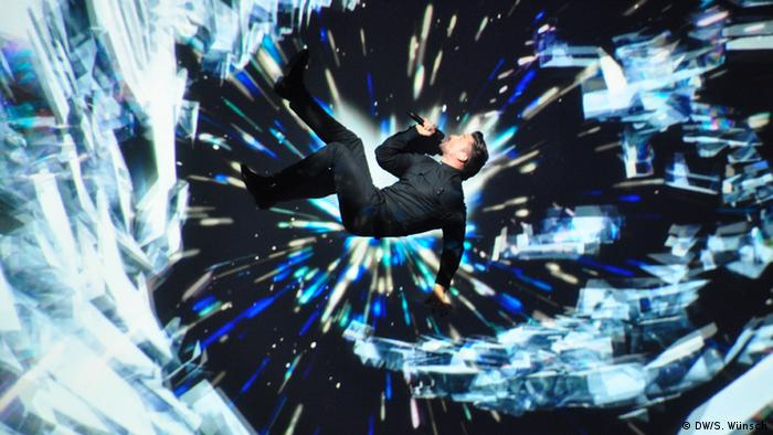 Russia's entry Sergey Lazarev seemingly gliding through the air during the performance. Photo: DW/S. Wünschh