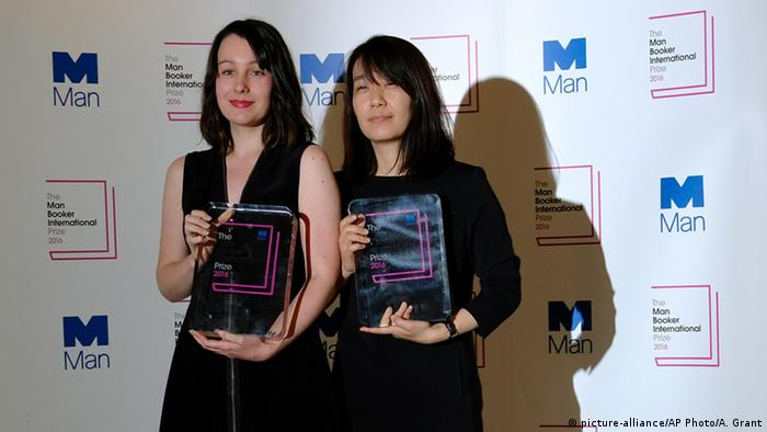 Winner of the 2016 Man Booker International prize for fiction Han Kang, right, with her translator who shares the prize, Deborah Smith Copyright: picture-alliance/AP Photo/A. Grant