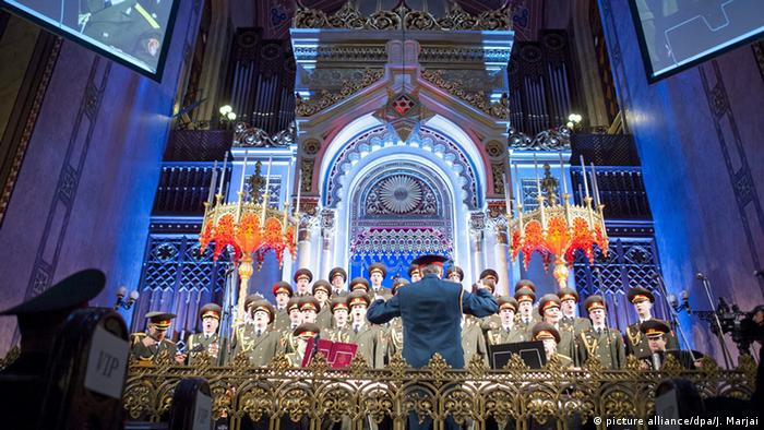 The Alexandrov Ensemble Choir, also known as the Red Army Choir, performs at a synagogue in Budapest