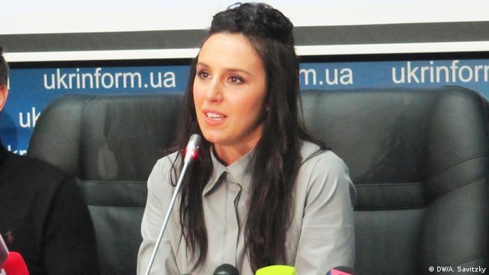 Певица Джамала на пресс-конференции в Киеве