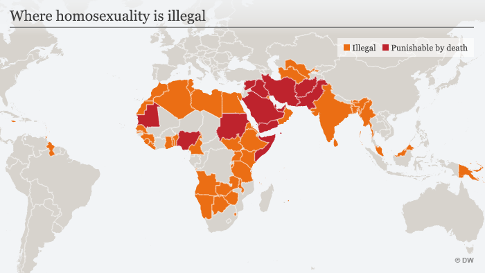 Infografik Wo Homosexualität illegal ist Englisch