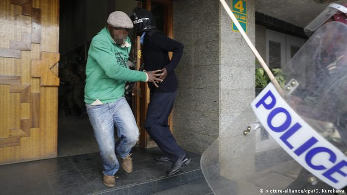 A man tries to escape Police during the protest