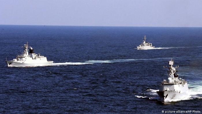 Chinese naval ships conducting exercises