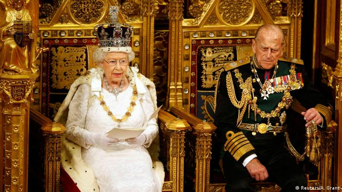 Queen Elizabeth and Prince Philip during the State Opening of Parliament in the House of Lords in London in 2016