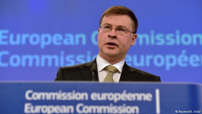 Belgien EU-Kommission Pressekonferenz Valdis Dombrovskis