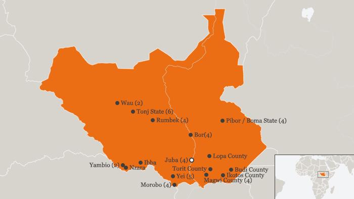 Karte Süd-Sudan