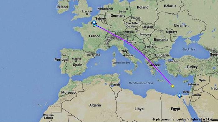 A screenshot from flight tracking site FlightRadar 24 showing where the flight lost contact with radar