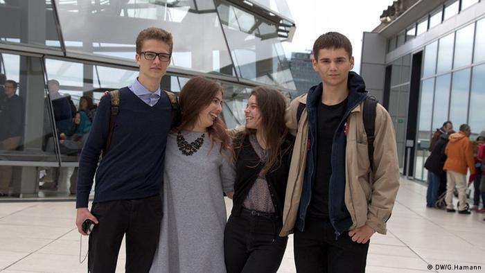Valentyn, Maja, Anna und Anton Foto. DW/ Greta Hamann