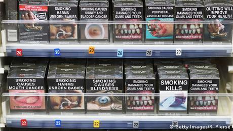 Australien Zigarettenschachteln mit Warnhinweis