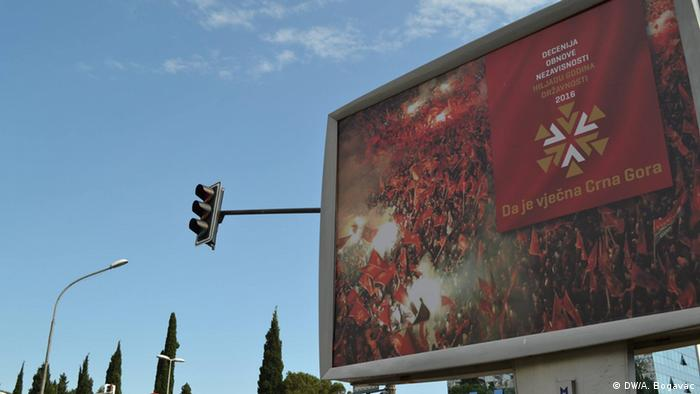 The billboard reads: Montenegro forever