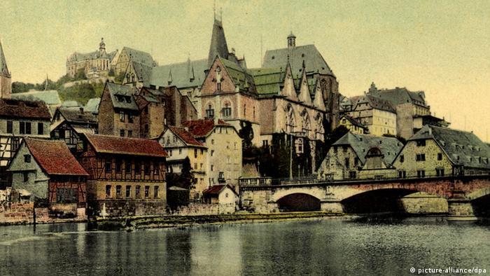 Река Лан, Старый город и Ландграфский замок в Марбурге. Почтовая открытка