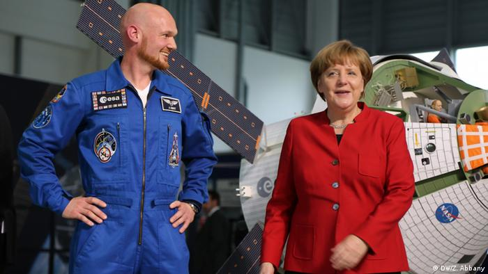 German Astronaut Alexander Gerst (L) and Chancellor Angela Merkel (R)