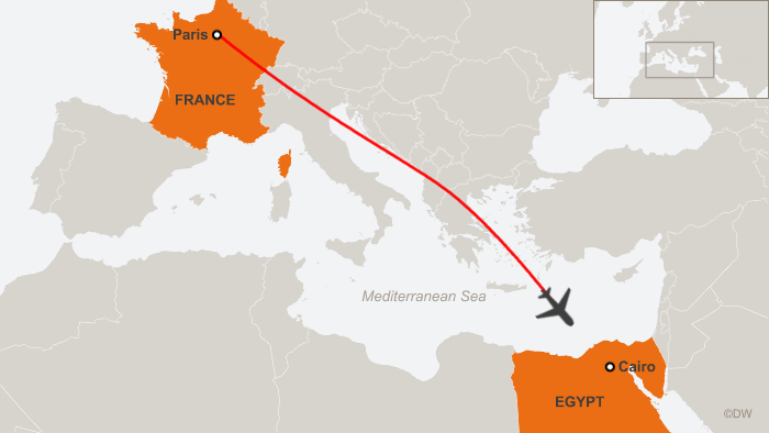 A map showing the flight path of flight MS804 before it disappeared from radar