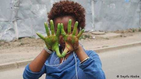 Äthiopien Traditionelle Bilder auf Betonpfeilern am Straßenrand in Addis Abeba
