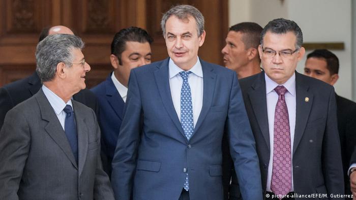 Henry Ramos Allup und Jose Luis Rodriguez Zapatero in Caracas