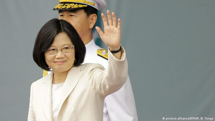 President Tsai Ing-wen waves to a crowd