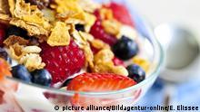 Serving of yogurt with fresh berries and granola (C) picture alliance/Bildagentur-online/E. Elissee