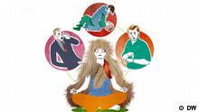 Eine Figur, die ein Fell trägt und von anderen Figuren angeschrien wird.