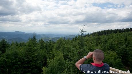 Ein Mann schaut auf die Landschaft des Nordschwarzwalds