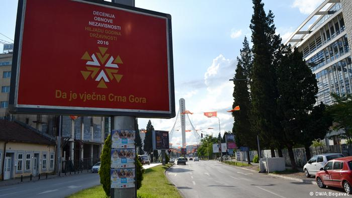 A billboard marking ten years of Montenegro's independence from Serbia in May 2016