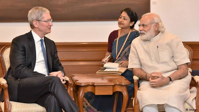 Tim Cook und Narendra Modi in Neu Delhi