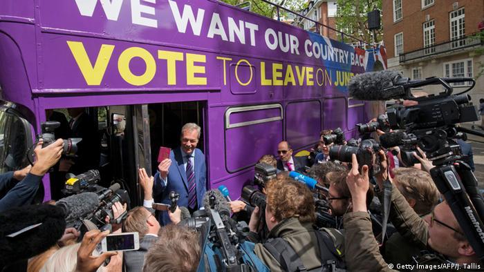 Großbritanien Nigel Farage Brexit Bus