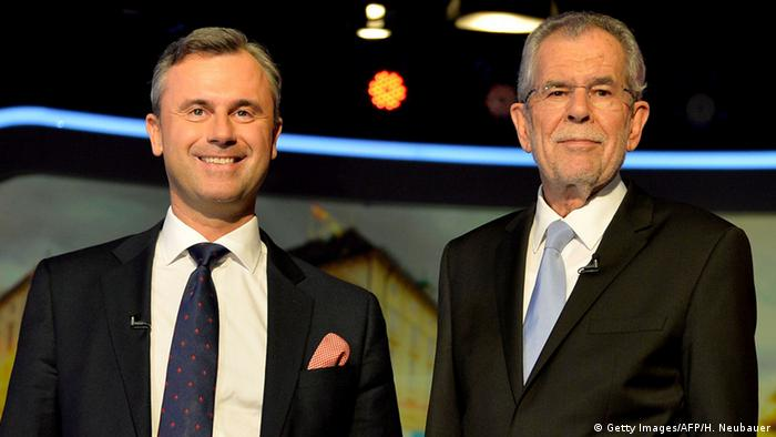 Alexander Van der Bellen (R) and Norbert Hofer, candidates for the Austrian presidential election