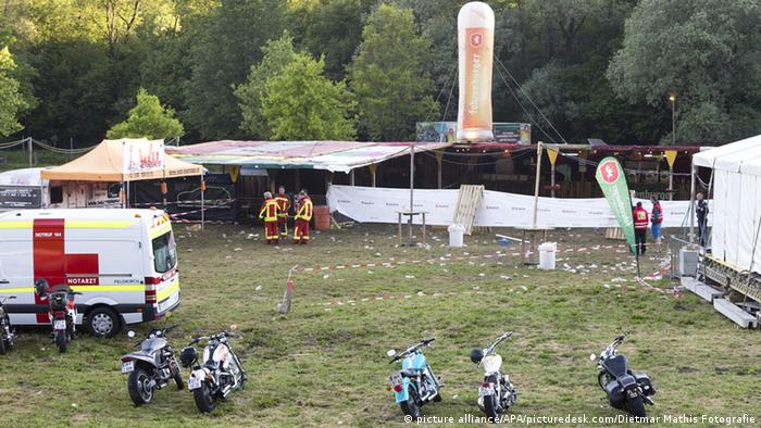 Rescue workers at the site of a concert ground outside of Nenzing, Austria