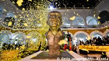 22.05.2016 *** A memorial to Colombian writer and Nobel laureate Gabriel Garcia Márquez (1927-2014) in the former La Merced monastery where his ashes will be buried, in Cartagena, Colombia, on May 22, 2016. / AFP / LUIS ACOSTA (Photo credit should read LUIS ACOSTA/AFP/Getty Images) © Getty Images/AFP/L. Acosta