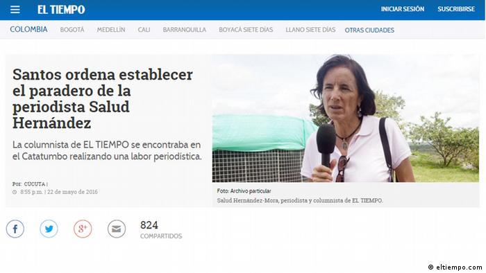 Screenshot El Tiempo - Kolumnistin Salud Hernández Mora