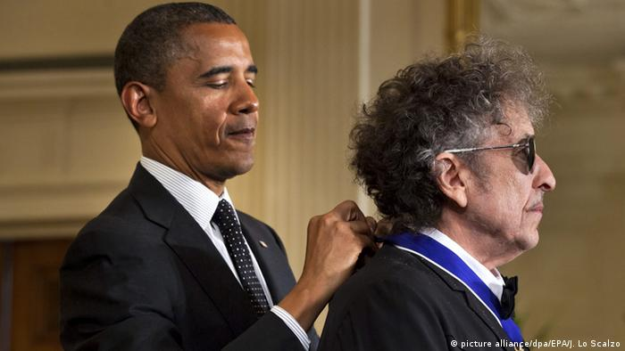 USA Barack Obama und Bob Dylan in Washington