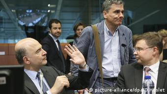 Pierre Moscovici Euclid Tsakalotos Valdis Dombrovskis
