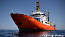 A picture shows the Aquarius, a former North Atlantic fisheries protection ship now used by humanitarians SOS Mediterranee and Medecins Sans Frontieres (Doctors without Borders), on May 23, 2016 in the Mediterranean sea in front of the Libyan coast. The Aquarius patrols to rescue migrants and refugees trying to reach Europe crossing the Mediterranean sea aboard rubber boats or old fishing boat. / AFP / GABRIEL BOUYS (Photo credit should read GABRIEL BOUYS/AFP/Getty Images) © Getty Images/G.Bouys