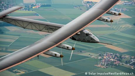 Solar Impulse 2 flying over land