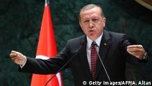 10.5.2016 *** President of Turkey Recep Tayyip Erdogan delivers a speech during a ceremony of Turkey's main private sector organisation, the Union of Chambers and Commodity Exchanges of Turkey (TOBB), in Ankara, on May 10, 2016. / AFP / ADEM ALTAN (Photo credit should read ADEM ALTAN/AFP/Getty Images) Copyright: Getty Images/AFP/A. Altan