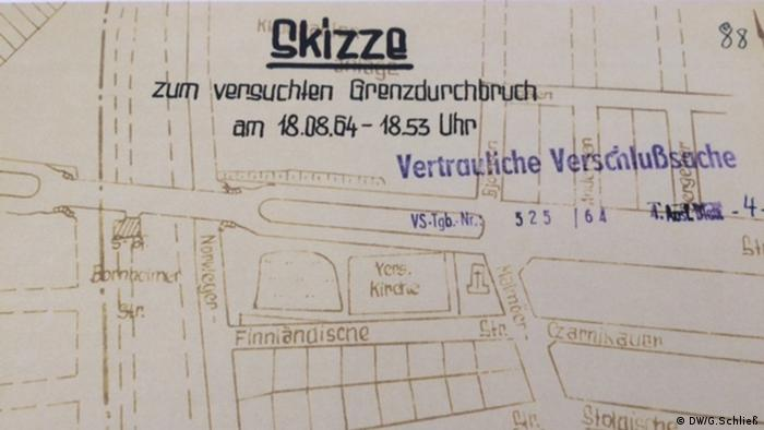 Esquema de uma tentativa de fuga, registrado pelas autoridades alemãs orientais
