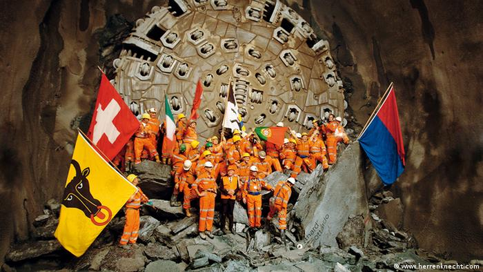 Gotthard Base Tunnel, completion of tunnel boring