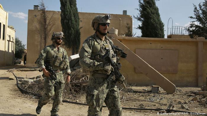 US special forces seen in May, 2016 in the village of Fatisah in the SDF-controlled northern Syrian province of Raqqa.