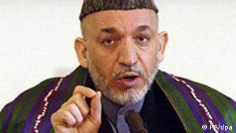 Afghan President Hamid Karzai at a press conference in Kabul in February 2006