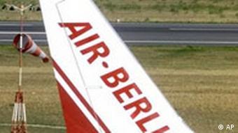 A wing tip of an Air Berlin plane