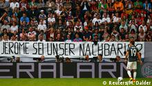 Football Soccer - Germany v Slovakia - International Friendly - WWK Arena, Augsburg, Germany - 29/5/16 - A banner reading 'Jerome, be our neighbour!' supporting Germany's Jerome Boateng is pictured during the match. People in Germany would not want soccer star Jerome Boateng, born in Berlin from a Ghanaian father, as their neighbour, Alexander Gauland, vice chair of anti-immigration party, Alternative for Germany, said in the Frankfurter Allgemeine Zeitung newspaper on Sunday. REUTERS/Michael Dalder