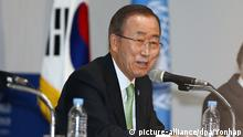 30.05.2016 epa05337018 United Nations (UN) Secretary-General Ban Ki-moon holds a news conference shortly after the 66th UN Department of Public Information/Nongovernmental Organization Conference held at a convention center in the southeastern city of Gyeongju, South Korea, 30 May 2016. Ban was in South Korea, his home country, for a three day visit. EPA/YONHAP SOUTH KOREA OUT +++(c) dpa - Bildfunk+++ | Copyright: picture-alliance/dpa/Yonhap