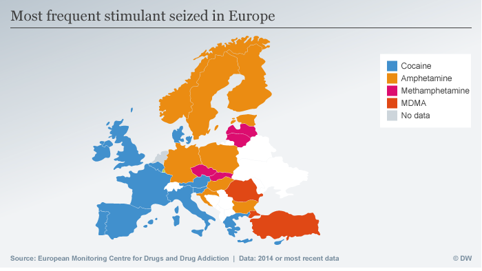 Infographic 2016 EU Drug Report - Most frequent stimulant seized in Europe, 2014 or most recent data