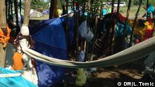 Neues Flüchtlingscamp in Belgrad Foto: Lidija Tomic, DW, Belgrade, May 2016 Many children and babies travel with their parents along the Balkan route in order to get to the EU Copyright: DW/L. Tomic