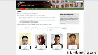 Screenshot Rotes Kreuz - Trace the Face Migrants in Europe