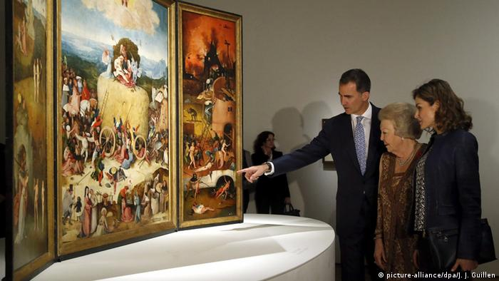 Spanish royalty view a Hieronymus Bosch work in the Prado Museum in Madrid