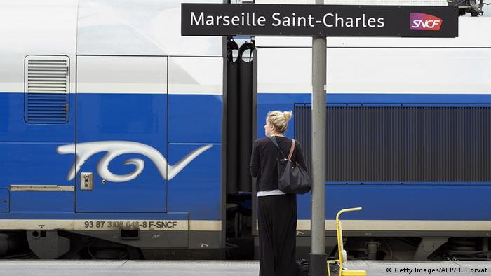 A traveler waits on a platform at the Saint-Charles station in Marseille, during a national strike by SNCF railway staff in 2014